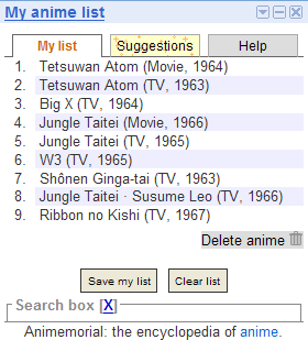 My anime list